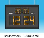 scoreboard with time and result ... | Shutterstock .eps vector #388085251