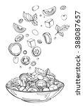 hand drawn sketch of fresh... | Shutterstock .eps vector #388087657