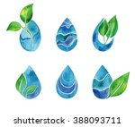 set of watercolor blue splashes ... | Shutterstock .eps vector #388093711