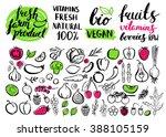 handwritten food elements and... | Shutterstock . vector #388105159