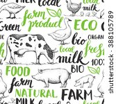 seamless pattern with farm... | Shutterstock . vector #388105789