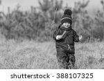 little boy playing outdoor in... | Shutterstock . vector #388107325