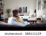 back view of young couple... | Shutterstock . vector #388111129