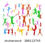 people jumping big group  | Shutterstock .eps vector #388113745