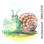 fairy snail on the grass | Shutterstock . vector #38812510