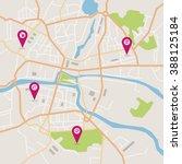 vector flat abstract city map... | Shutterstock .eps vector #388125184