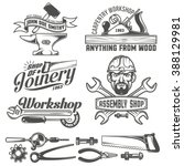 logos with working stuff.... | Shutterstock .eps vector #388129981