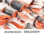 sliced raw  not cooked salmon ... | Shutterstock . vector #388133059