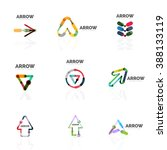 set of linear arrow abstract... | Shutterstock .eps vector #388133119