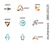 set of linear arrow abstract... | Shutterstock .eps vector #388133125