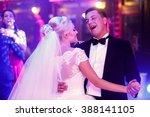 smiling happy newlyweds dancing ... | Shutterstock . vector #388141105