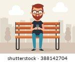cute cartoon character sitting... | Shutterstock .eps vector #388142704