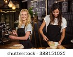 pretty waitresses behind the... | Shutterstock . vector #388151035