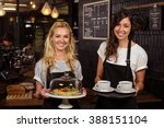 pretty waitresses posing in... | Shutterstock . vector #388151104