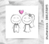 groom and bride  vector hand... | Shutterstock .eps vector #388155895