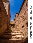 Small photo of Street of Ait Benhaddou, fortified city, kasbah or ksar, along the former caravan route between Sahara and Marrakesh in present day Ouarzazate, Morocco