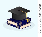 graduate hat with books. vector ... | Shutterstock .eps vector #388166881