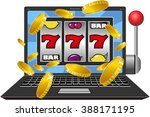 laptop working as slot machine... | Shutterstock .eps vector #388171195