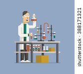 man in laboratory making tests... | Shutterstock .eps vector #388171321