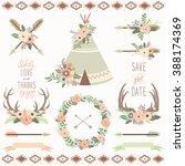 wedding floral tribal | Shutterstock .eps vector #388174369