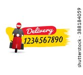 delivery man courier service... | Shutterstock .eps vector #388184059