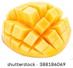cubes of mango fruit. isolated... | Shutterstock . vector #388186069