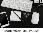 workplace with mobile phone ... | Shutterstock . vector #388193359