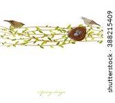 nest with birds. spring... | Shutterstock .eps vector #388215409