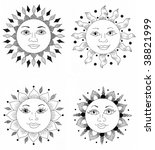four pen and ink sun faces. | Shutterstock . vector #38821999