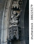 Small photo of Statue of Saint Peter on portal of Saint Maurice Church (Moritzkirche, 1388-1511). Halle (Saale), Germany