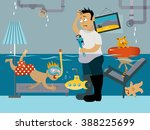 kid snorkeling in a flooded... | Shutterstock .eps vector #388225699