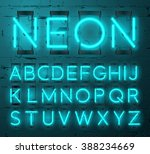 neon light alphabet vector font.... | Shutterstock .eps vector #388234669