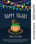 happy ugadi lettering with... | Shutterstock .eps vector #388234699