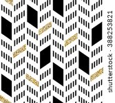 Seamless Chevron Pattern. With Glittering Gold and thin lines | Shutterstock vector #388253821