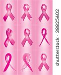 set of 9 pink breast cancer... | Shutterstock .eps vector #38825602