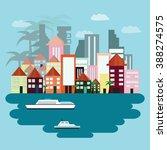 island illustration. day sky.  | Shutterstock .eps vector #388274575
