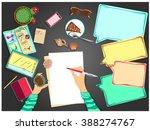 plans for summer. girl is... | Shutterstock .eps vector #388274767
