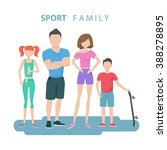 sport family. father  mother ... | Shutterstock .eps vector #388278895