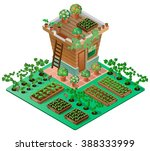 garden in spring. garden house... | Shutterstock .eps vector #388333999