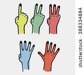 five human counting colored... | Shutterstock .eps vector #388334884