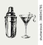 sketch cosmopolitan cocktails... | Shutterstock .eps vector #388341781