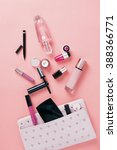 make up bag with cosmetics on... | Shutterstock . vector #388366771
