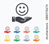 smile and hand sign icon. palm... | Shutterstock . vector #388370674