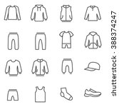 Stock vector different types of man s clothes for sport man s clothes for sport and home as line icons 388374247
