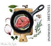watercolor food clipart   pork... | Shutterstock . vector #388376311