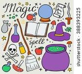 magic set. hand drawn cartoon... | Shutterstock .eps vector #388393225