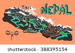 illustrated map of nepal | Shutterstock .eps vector #388395154