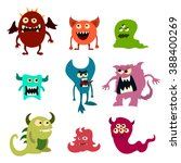 doodle monsters set. colorful... | Shutterstock .eps vector #388400269