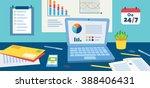 flat design vector workspace... | Shutterstock .eps vector #388406431