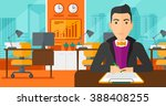 man signing contract.   Shutterstock .eps vector #388408255